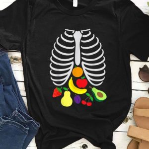 Nice Halloween Xray Pregnant Skeleton Food Vegan Reveal shirt