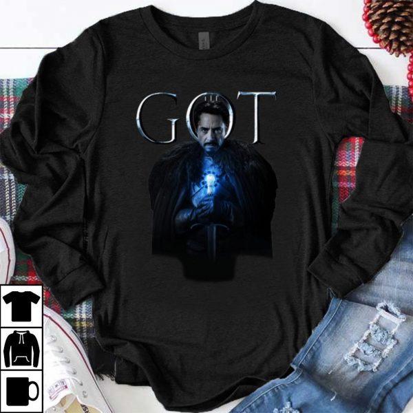 Nice House Stark Iron Man Tony Stark in Game Of Thrones shirt