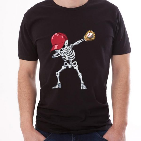 Official Halloween Boys Mens Baseball Apparel, Kids Dabbing Skeleton shirt