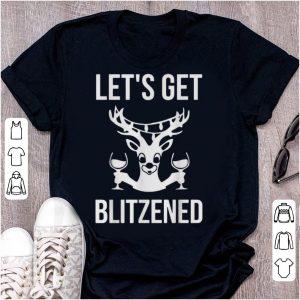 Official Let's Get Blitzened Reindeer Wine Drinking shirt