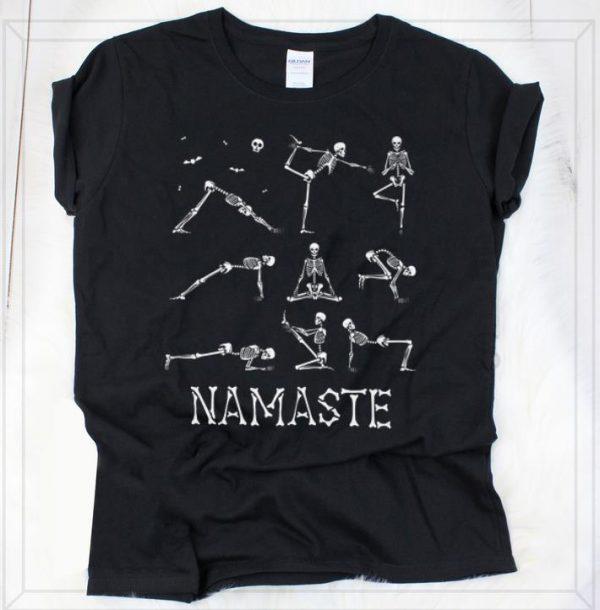 Official Namaste Skeleton Yoga Skull Halloween shirt