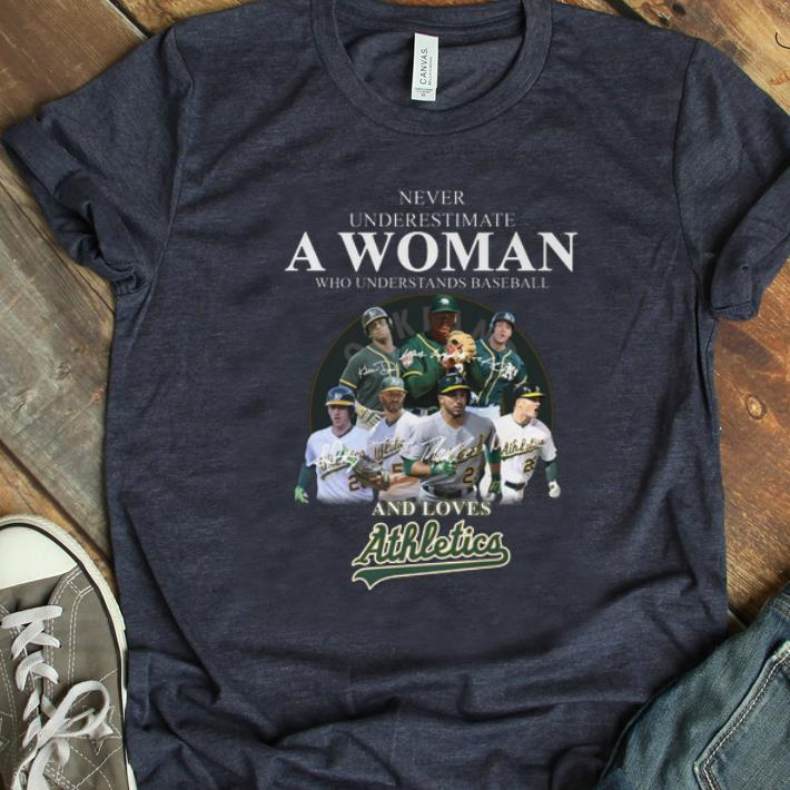 Original Never Underestimate A Woman Who Baseball And Loves Athletics Signature shirt 1 - Original Never Underestimate A Woman Who Baseball And Loves Athletics Signature shirt