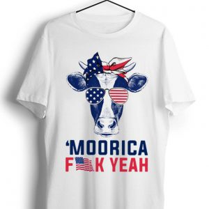 Premium Moorica Fuck Yeah Cow American Flag shirt