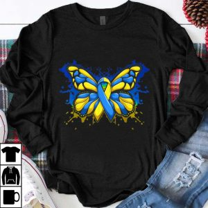 Pretty Down Syndrome Awareness Butterfly Blue And Yellow Ribbon shirt