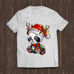 Pretty Panda Christmas Reindeer Christmas Lights shirt