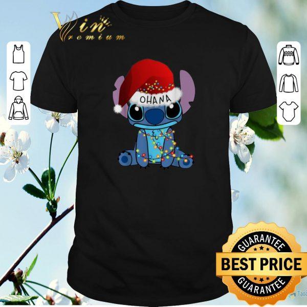 Pretty Stitch Ohana Christmas lights shirt sweater
