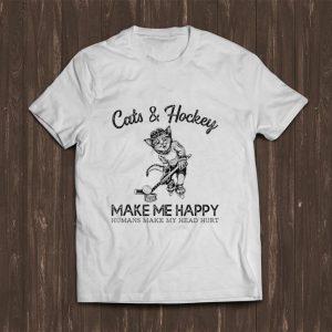 Top Cats & Hockey Make Me Happy Humans Make My Head Hurt shirt