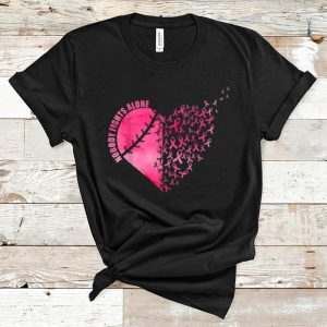 Top Softball Baseball Heart Breast Cancer Nobody Fights Alone shirt