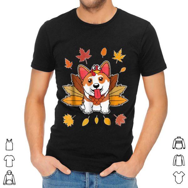 Top Turkey Pilgrim Riding Corgi Dog Costume Lovely shirt