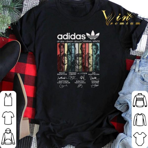 Vintage adidas all day i dream about Criminal Minds signatures shirt