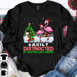 Awesome Easily Distracted By Christmas And Flamingos Hat In Snow shirt