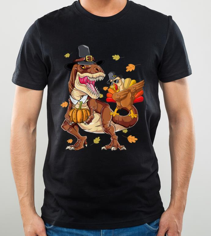 Awesome Thanksgiving T Rex Dinosaur Dabbing Turkey Pumpkin Autumn shirt 4 - Awesome Thanksgiving T-Rex Dinosaur - Dabbing Turkey Pumpkin Autumn shirt