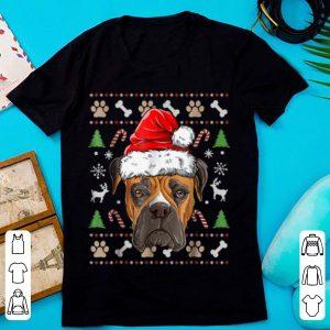 Boxer Ugly Christmas Santa Hat Xmas Dog Boys Girls Tee sweater