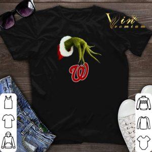 Christmas Grinch hand holding Washington Nationals shirt sweater
