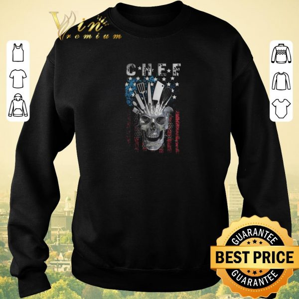Funny Chef skull american flag veteran shirt sweater