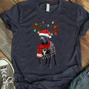 Hot Cute Pitbull Christmas Lights Reindeer Pajamas T-Shirt B07ZMLY526.png