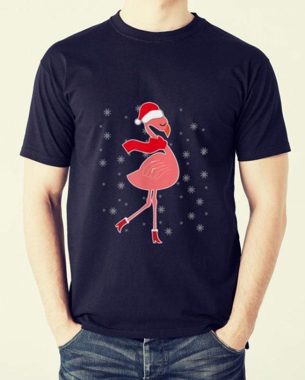 Hot Flamingo Christmas Pajama Pink Flamingo Santa shirt