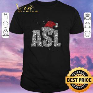 Hot Glitter ASL Santa hat Christmas shirt sweater
