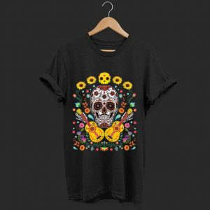 Nice Flower Guitar Sugar Skull The Day Of The Dead shirt