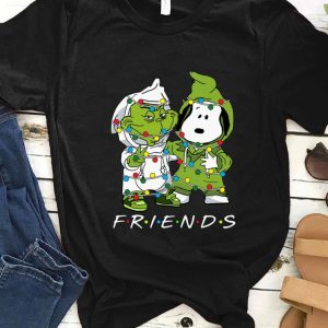 Official Friends Grinch and Snoopy light christmas shirt