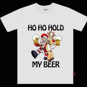 Official Santa Claus and Reindeer ho ho hold my beer Christmas shirt