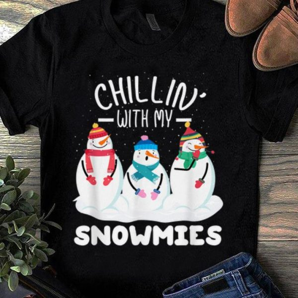 Official chillin with my snowmies funny christmas pajamas Xmas gifts shirt