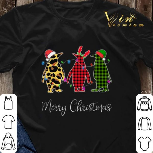 Penguin Merry Christmas leopard plaid shirt sweater