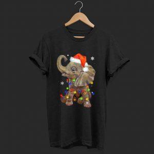 Premium Elephant Santa Christmas Light shirt