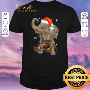 Premium Elephant santa Christmas light shirt sweater