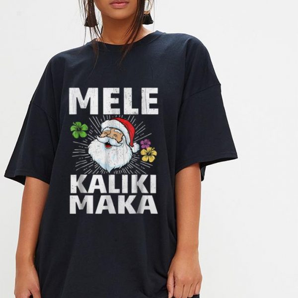 Pretty Christmas Mele Kalikimaka Santa Hawaii shirt