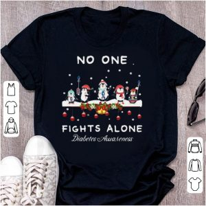 Pretty Ugly Christmas Penguins No One Fights Alone Diabetes Awareness shirt