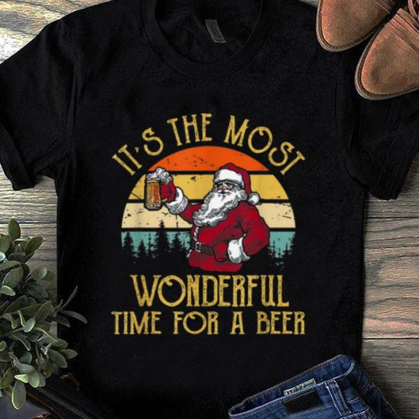 Pretty Vintage Santa Claus It's The Most Wonderful Time For A Beer shirt