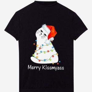 Top Merry Kissmyass Cat Lover Christmas shirt