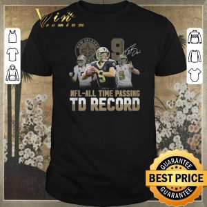 Awesome 9 Drew Brees Saints signed NFL all time passing to record shirt sweater