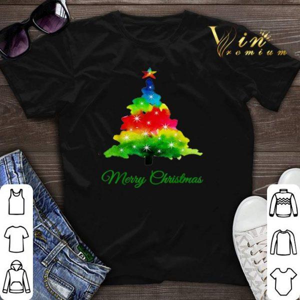 Colorful merry Christmas Tree Art shirt sweater