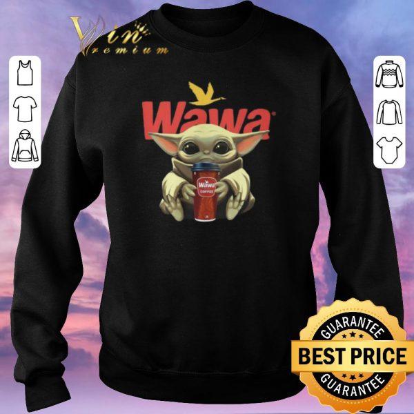 Funny Baby Yoda hug Wawa coffee shirt sweater