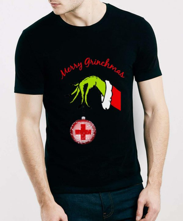 Hot Grinch hand holding Hospital Merry christmas shirt