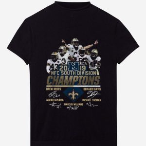Hot New Orleans Saints 2019 NFC South Division Champions players signatures shirt