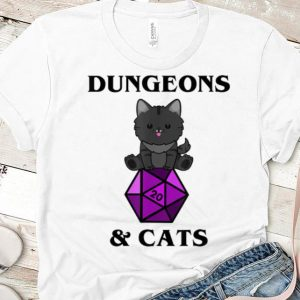 Nice Dungeons And Cats Nerdy RPG Dragon D20 Dice Gamer shirt