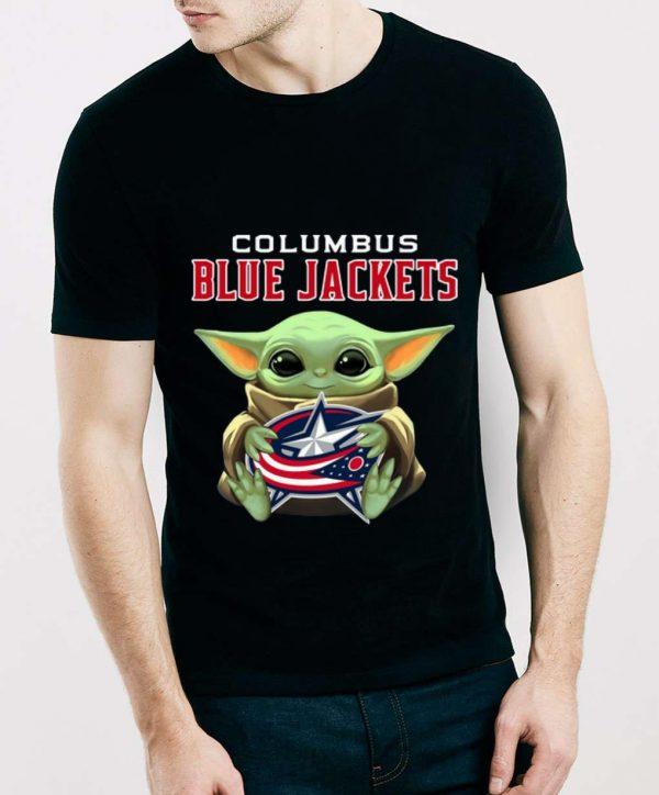 Nice Star Wars Baby Yoda Hug Columbus Blue Jackets NHL shirt