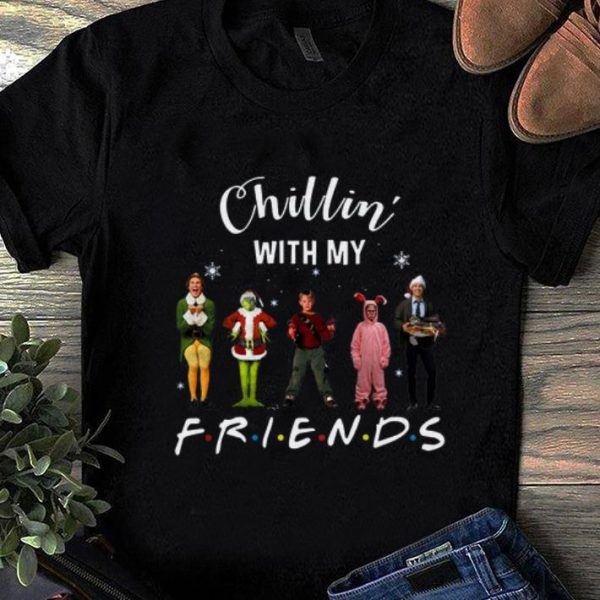 Official Chillin' with my Friends Grinch Elf Home Alone Characters Christmas shirt