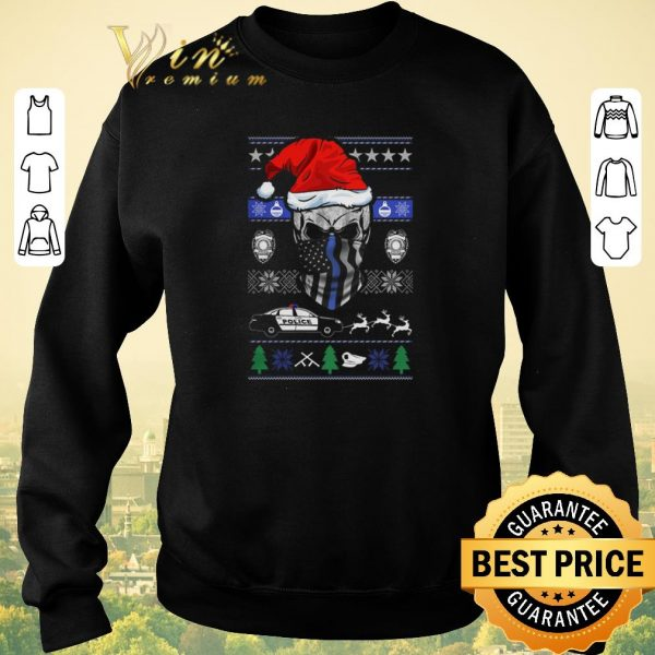 Official ugly Christmas Santa skull Thin Blue Line sweater