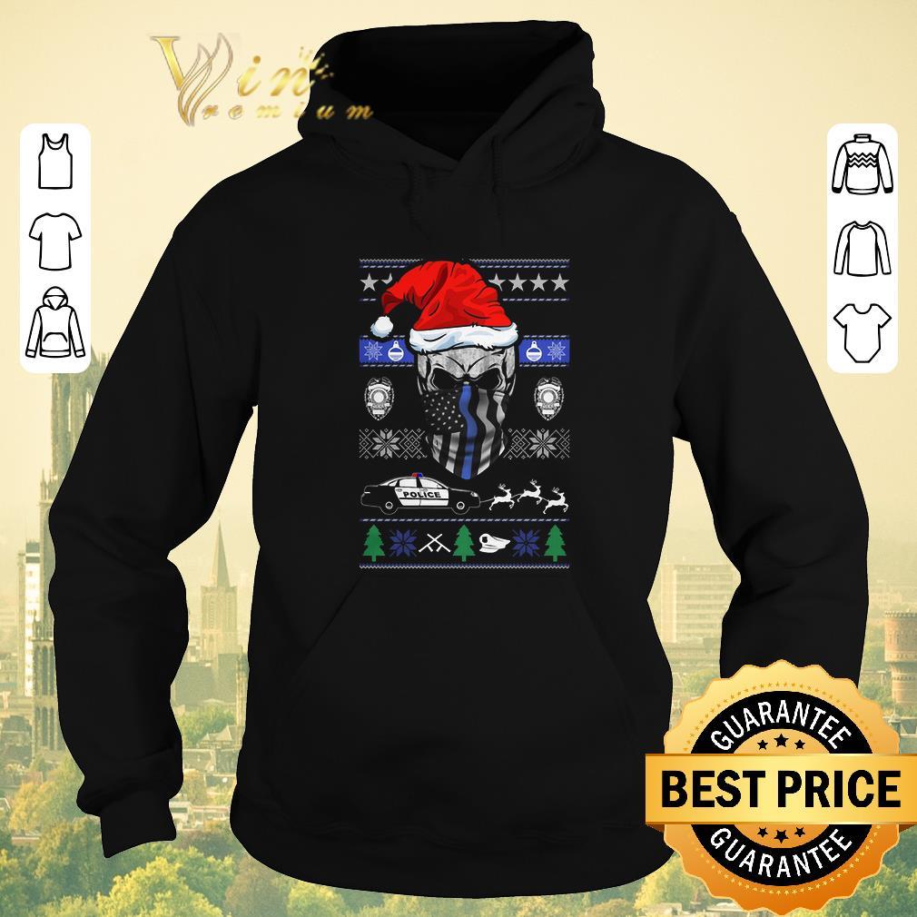 Official ugly Christmas Santa skull Thin Blue Line sweater 4 - Official ugly Christmas Santa skull Thin Blue Line sweater