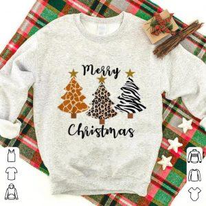Premium Animal Print Leopard Zebra Giraffe Merry Christmas Tree xmas sweater