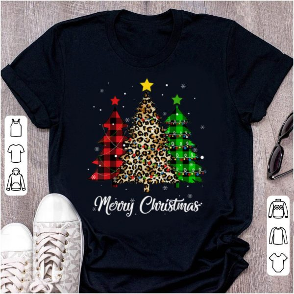 Premium Xmas Holiday Gifts Merry Christmas Tree Leopard Print Womens sweater