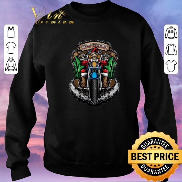 Pretty Merry Christmas Santa Skull Biker shirt