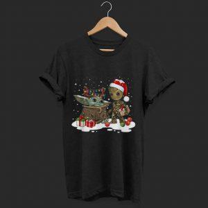 Top Baby Yoda And Groot Santa Christmas shirt