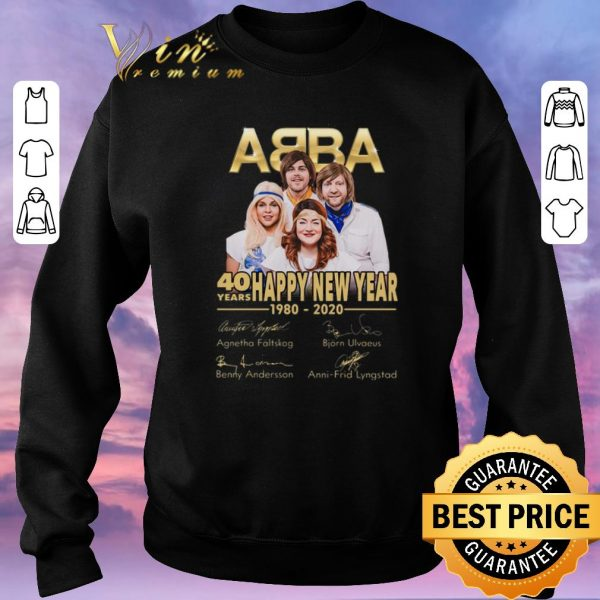 Top Signatures ABBA 40 years Happy New Year 1980-2020 shirt