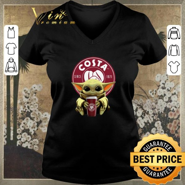 Funny Baby Yoda hug Costa Coffee Star Wars Mandalorian shirt sweater