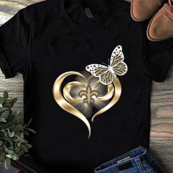 Great Butterfly Heart Love New Orleans Saints shirt